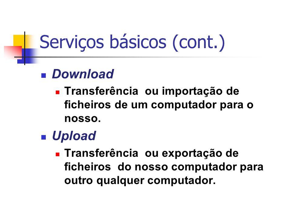 Serviços básicos (cont.) Download Transferência ou importação de ficheiros de um computador para o nosso. Upload Transferência ou exportação de fichei