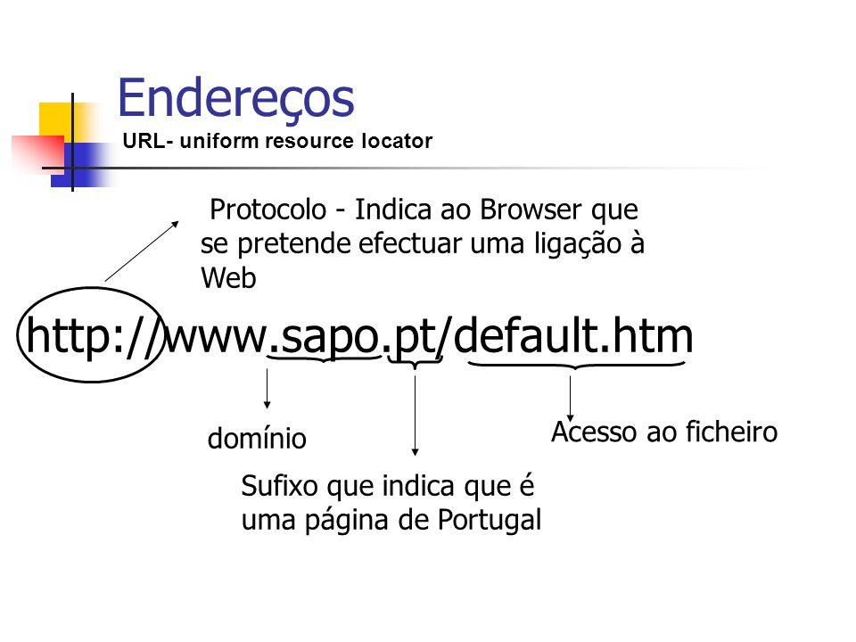 Endereços URL- uniform resource locator http://www.sapo.pt/default.htm Protocolo - Indica ao Browser que se pretende efectuar uma ligação à Web domíni