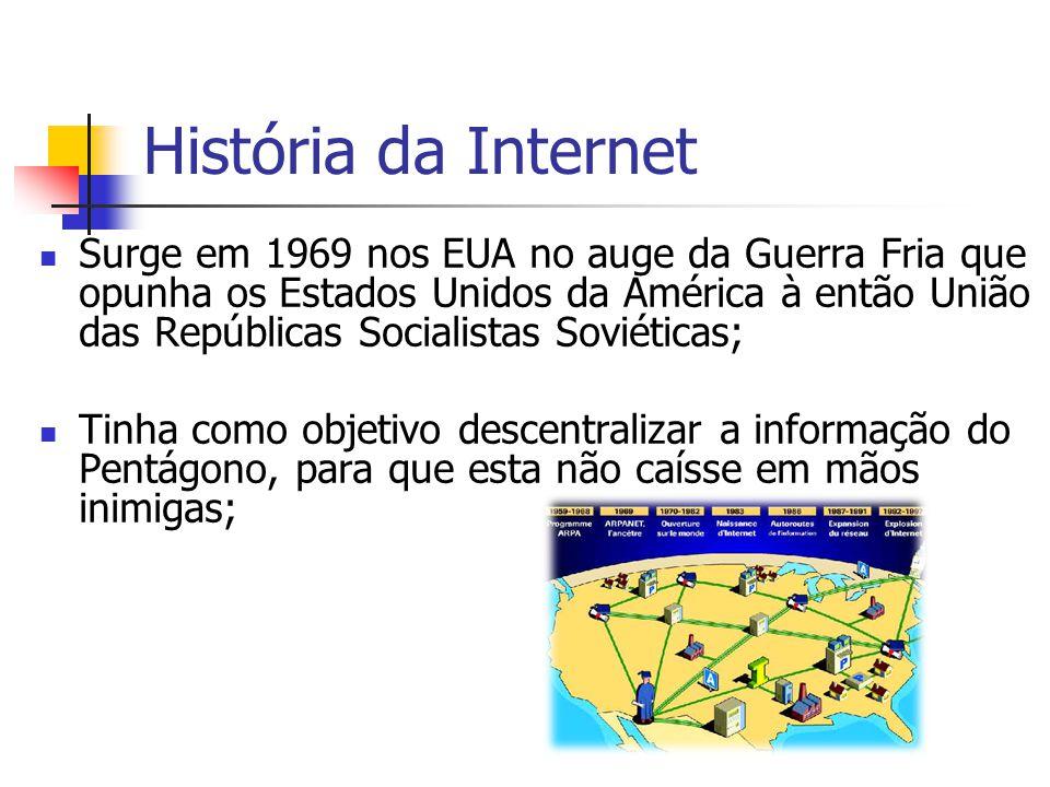História da Internet Surge a ARPANET – rede que funcionava com um protocolo ( regras ) de comunicação que garantia que a informação fosse partilhada e chegasse sempre com segurança ao destino; Inicio dos anos 80 – A ARPANET adotou um conjunto de protocolos(TCP/IP) que permitia que universidades, centros de investigação e departamentos militares criassem as suas próprias redes e se ligarem à ARPANET; Início dos anos 90 – dá-se a exploração comercial da Internet gerida por empresas privadas.