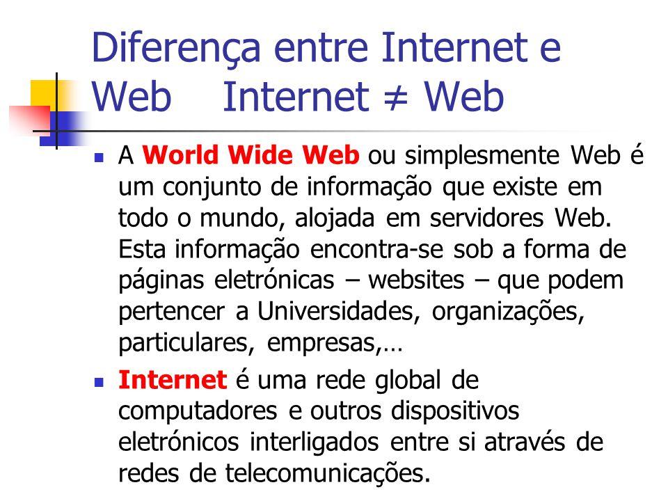 Diferença entre Internet e Web Internet ≠ Web A World Wide Web ou simplesmente Web é um conjunto de informação que existe em todo o mundo, alojada em