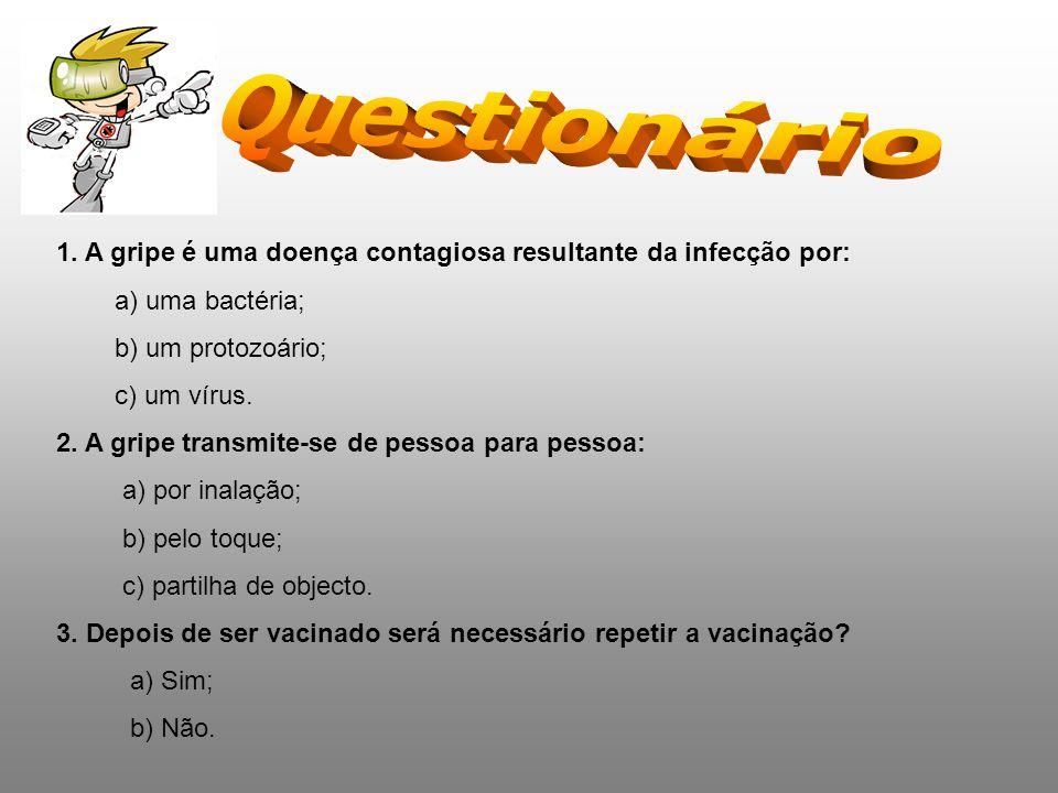 1. A gripe é uma doença contagiosa resultante da infecção por: a) uma bactéria; b) um protozoário; c) um vírus. 2. A gripe transmite-se de pessoa para