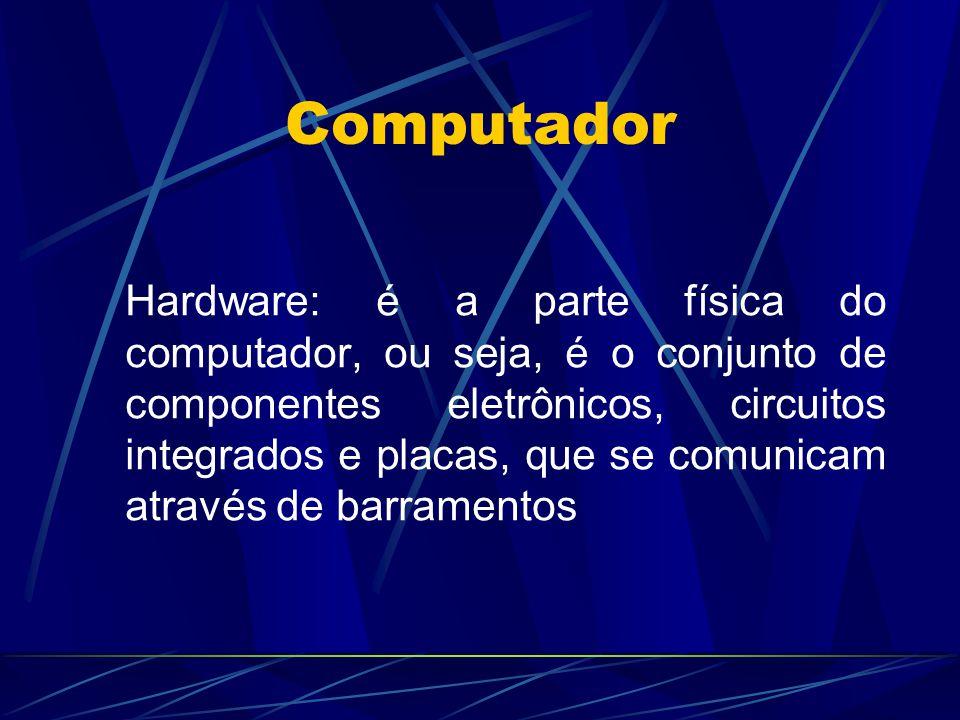 Computador Hardware: é a parte física do computador, ou seja, é o conjunto de componentes eletrônicos, circuitos integrados e placas, que se comunicam