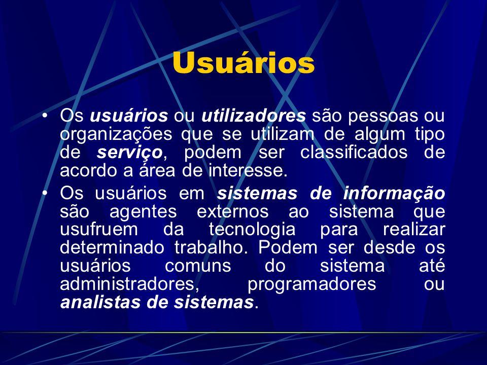 Usuários Os usuários ou utilizadores são pessoas ou organizações que se utilizam de algum tipo de serviço, podem ser classificados de acordo a área de