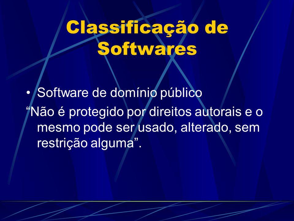"""Classificação de Softwares Software de domínio público """"Não é protegido por direitos autorais e o mesmo pode ser usado, alterado, sem restrição alguma"""