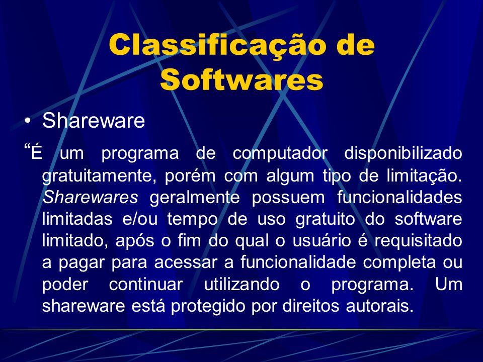 """Classificação de Softwares Shareware """" É um programa de computador disponibilizado gratuitamente, porém com algum tipo de limitação. Sharewares geralm"""