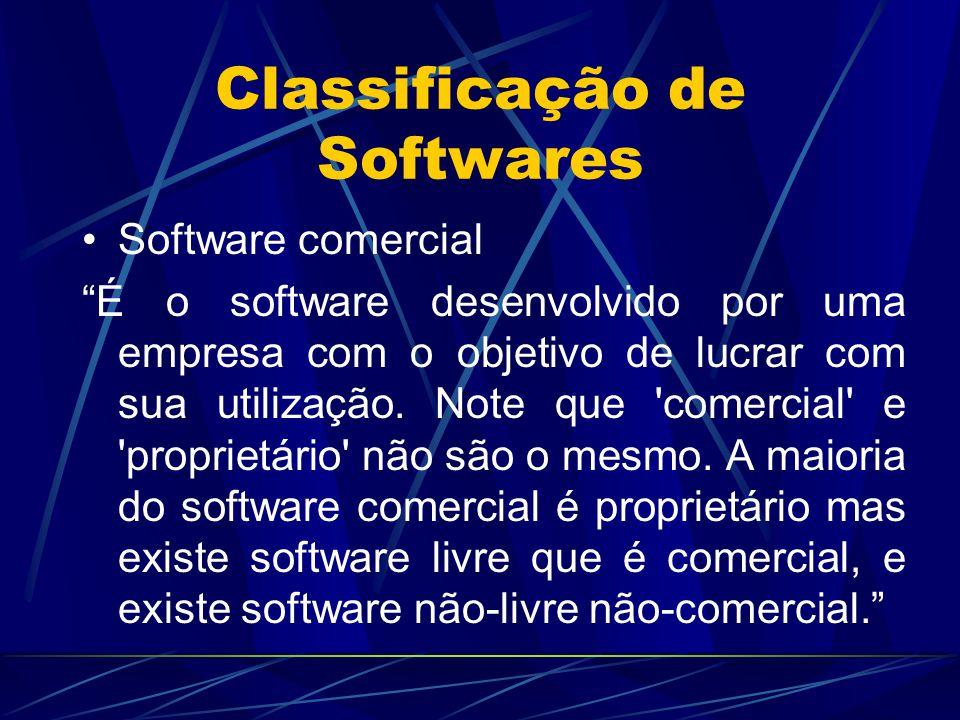 """Classificação de Softwares Software comercial """"É o software desenvolvido por uma empresa com o objetivo de lucrar com sua utilização. Note que 'comerc"""