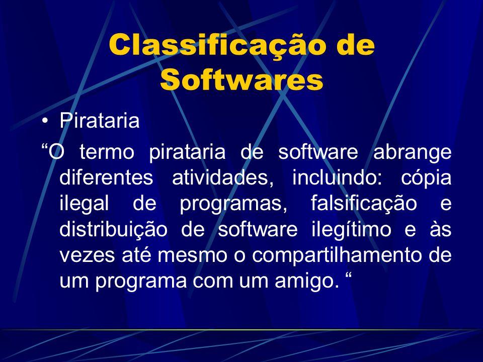 """Classificação de Softwares Pirataria """"O termo pirataria de software abrange diferentes atividades, incluindo: cópia ilegal de programas, falsificação"""