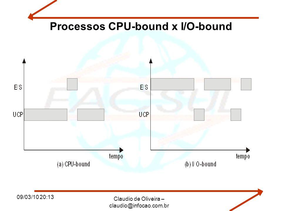 09/03/10 20:13 Claudio de Oliveira – claudio@infocao.com.br Processos CPU-bound x I/O-bound