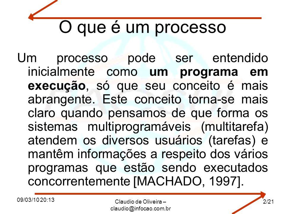09/03/10 20:13 Claudio de Oliveira – claudio@infocao.com.br 2/21 O que é um processo Um processo pode ser entendido inicialmente como um programa em e