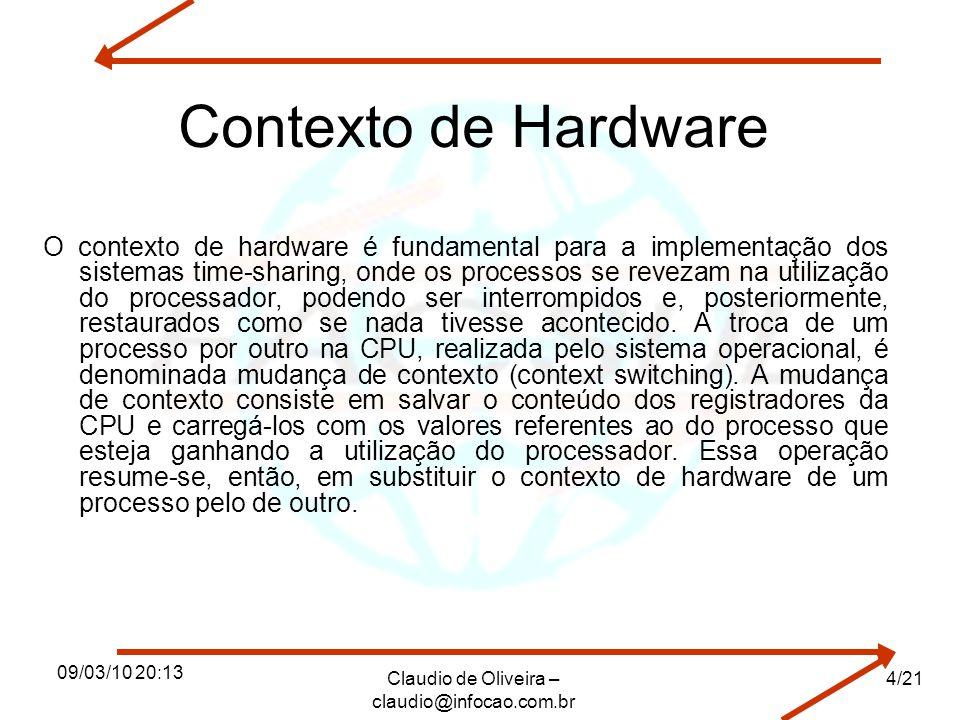 09/03/10 20:13 Claudio de Oliveira – claudio@infocao.com.br 4/21 Contexto de Hardware O contexto de hardware é fundamental para a implementação dos si