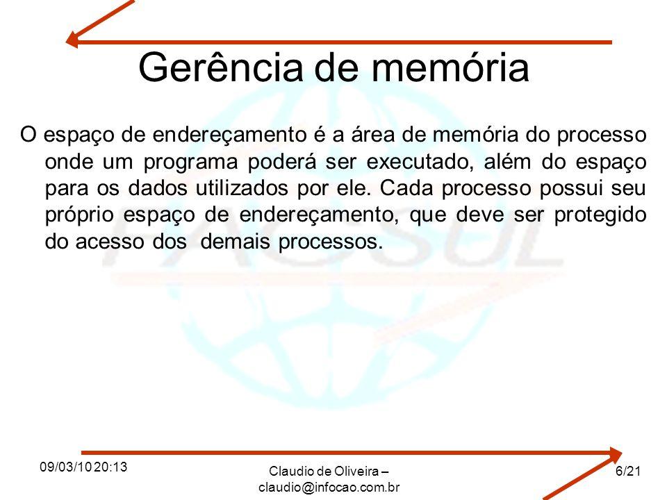 09/03/10 20:13 Claudio de Oliveira – claudio@infocao.com.br 6/21 Gerência de memória O espaço de endereçamento é a área de memória do processo onde um