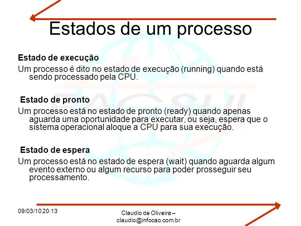 09/03/10 20:13 Claudio de Oliveira – claudio@infocao.com.br Estados de um processo Estado de execução Um processo é dito no estado de execução (runnin