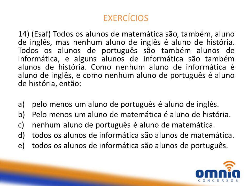 EXERCÍCIOS 14) (Esaf) Todos os alunos de matemática são, também, aluno de inglês, mas nenhum aluno de inglês é aluno de história.