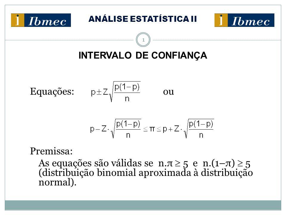ANÁLISE ESTATÍSTICA II 1 INTERVALO DE CONFIANÇA Estimativa do Intervalo de Confiança para a Proporção Equações: ou Premissa: As equações são válidas se n.π  5 e n.(1–π)  5 (distribuição binomial aproximada à distribuição normal).