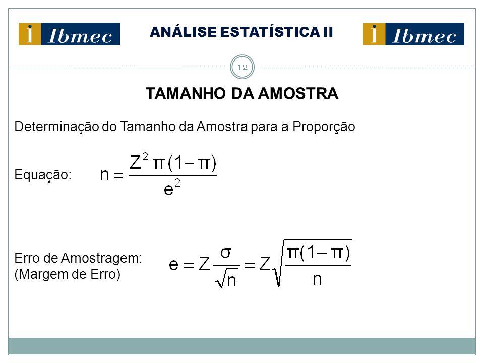 ANÁLISE ESTATÍSTICA II 12 TAMANHO DA AMOSTRA Determinação do Tamanho da Amostra para a Proporção Equação: Erro de Amostragem: (Margem de Erro)