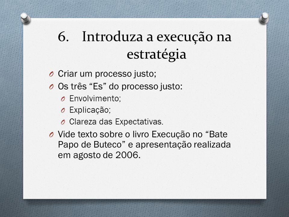 """6.Introduza a execução na estratégia O Criar um processo justo; O Os três """"Es"""" do processo justo: O Envolvimento; O Explicação; O Clareza das Expectat"""