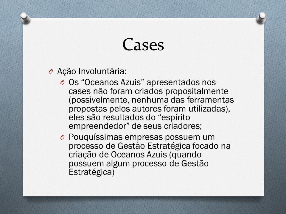 """Cases O Ação Involuntária: O Os """"Oceanos Azuis"""" apresentados nos cases não foram criados propositalmente (possivelmente, nenhuma das ferramentas propo"""