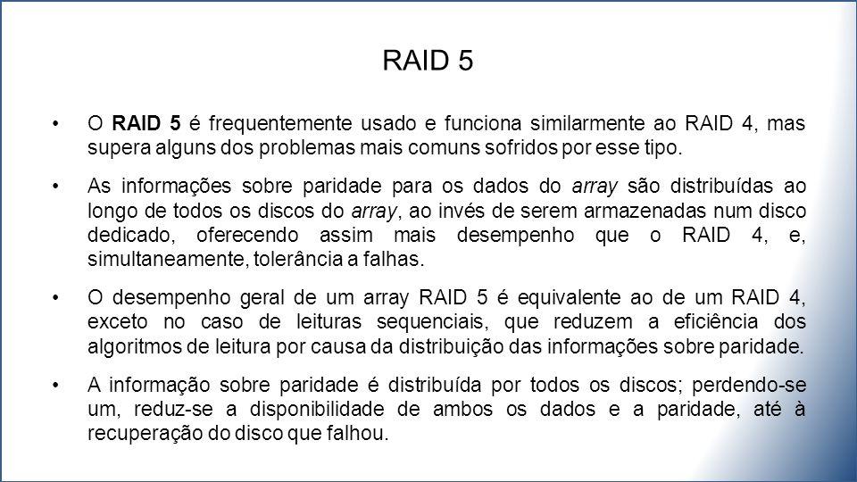 O RAID 5 é frequentemente usado e funciona similarmente ao RAID 4, mas supera alguns dos problemas mais comuns sofridos por esse tipo. As informações
