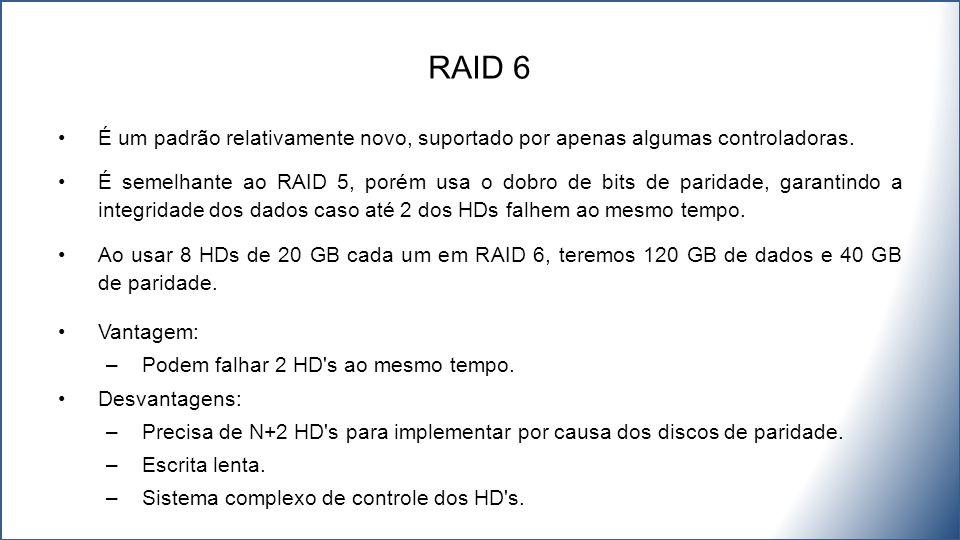É um padrão relativamente novo, suportado por apenas algumas controladoras. É semelhante ao RAID 5, porém usa o dobro de bits de paridade, garantindo