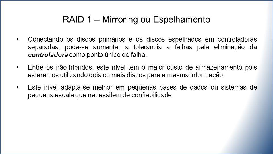 Conectando os discos primários e os discos espelhados em controladoras separadas, pode-se aumentar a tolerância a falhas pela eliminação da controladora como ponto único de falha.