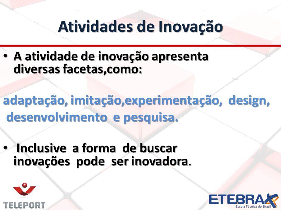 Atividades de Inovação A atividade de inovação apresenta diversas facetas,como: A atividade de inovação apresenta diversas facetas,como: adaptação, imitação,experimentação, design, adaptação, imitação,experimentação, design, desenvolvimento e pesquisa.