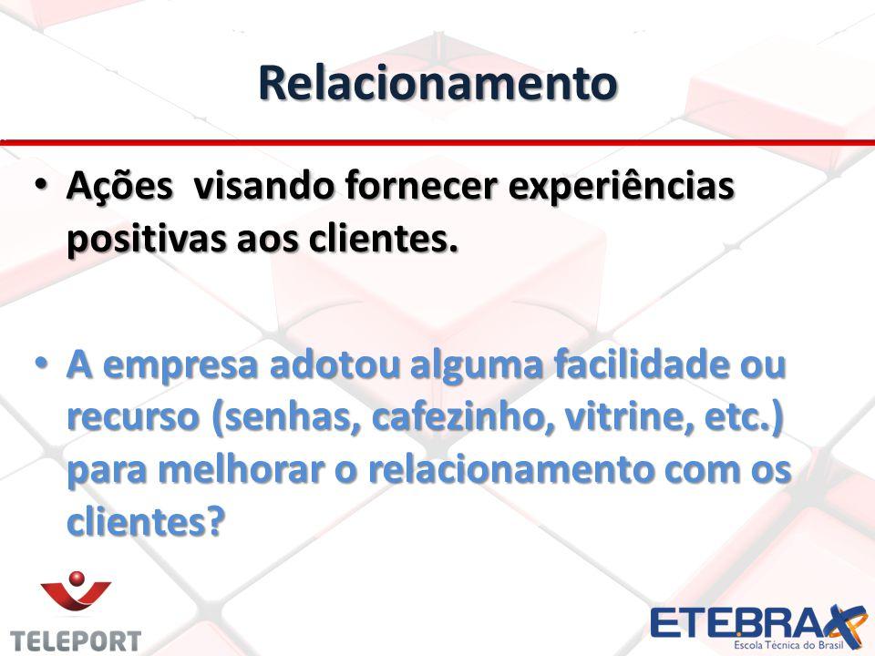 Relacionamento Ações visando fornecer experiências positivas aos clientes.