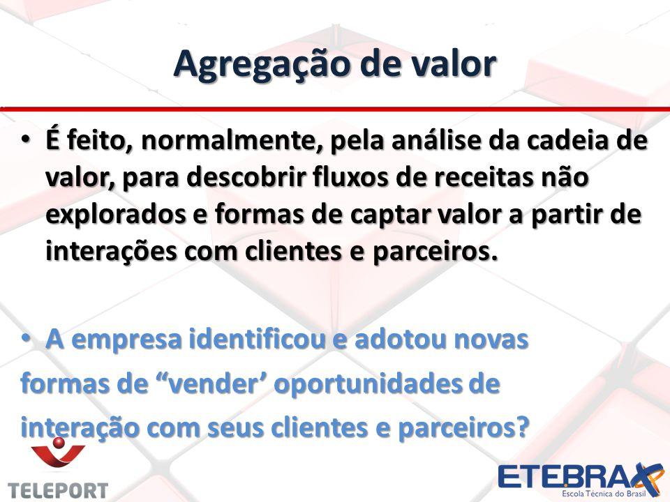 Agregação de valor É feito, normalmente, pela análise da cadeia de valor, para descobrir fluxos de receitas não explorados e formas de captar valor a partir de interações com clientes e parceiros.