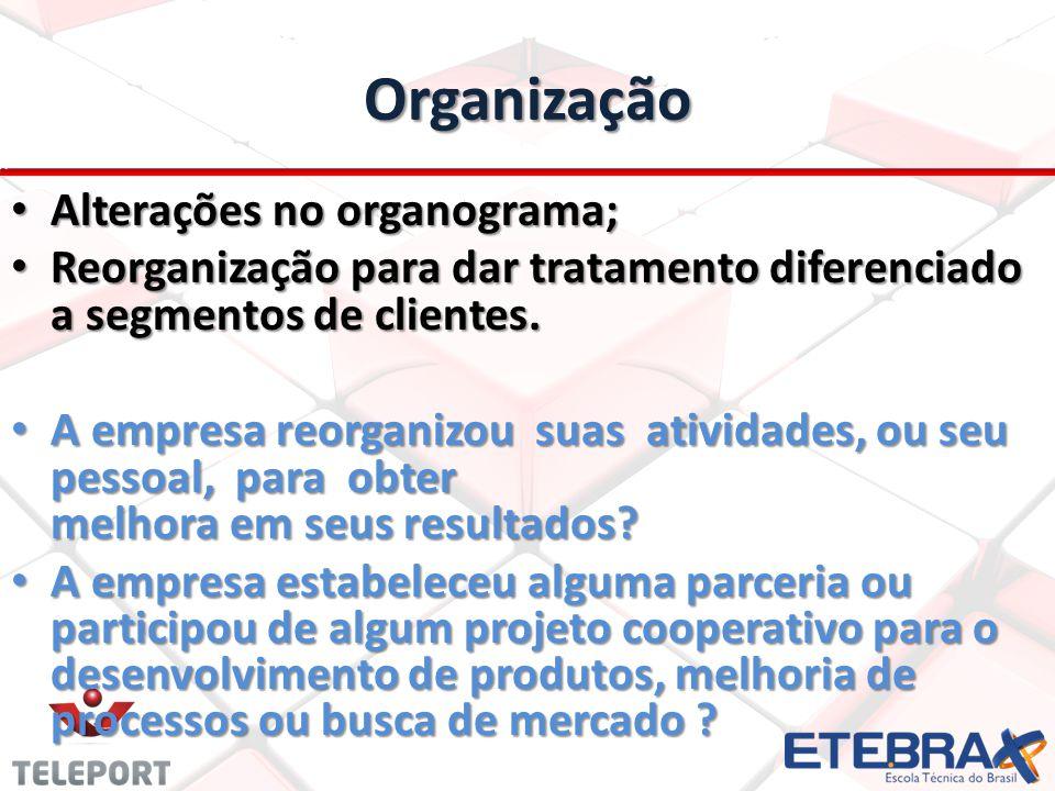 Organização Alterações no organograma; Alterações no organograma; Reorganização para dar tratamento diferenciado a segmentos de clientes.