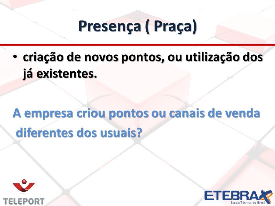 Presença ( Praça) criação de novos pontos, ou utilização dos já existentes.