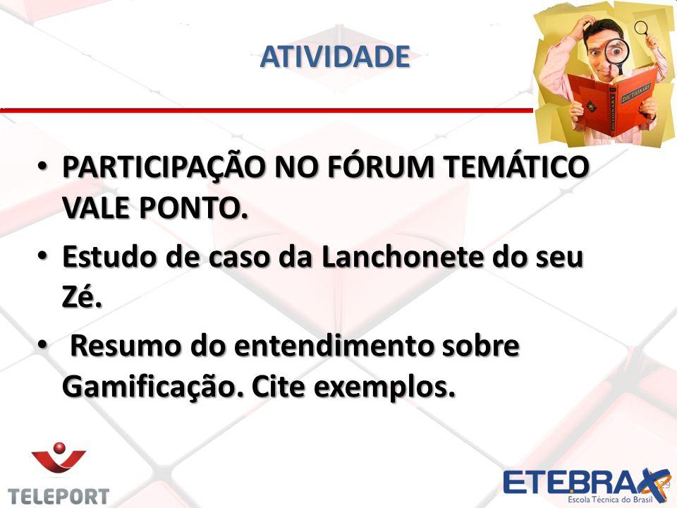 ATIVIDADE PARTICIPAÇÃO NO FÓRUM TEMÁTICO VALE PONTO.