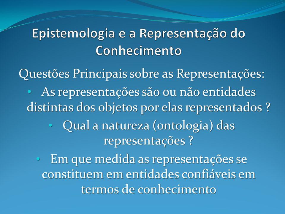 Questões Principais sobre as Representações: As representações são ou não entidades distintas dos objetos por elas representados ? As representações s