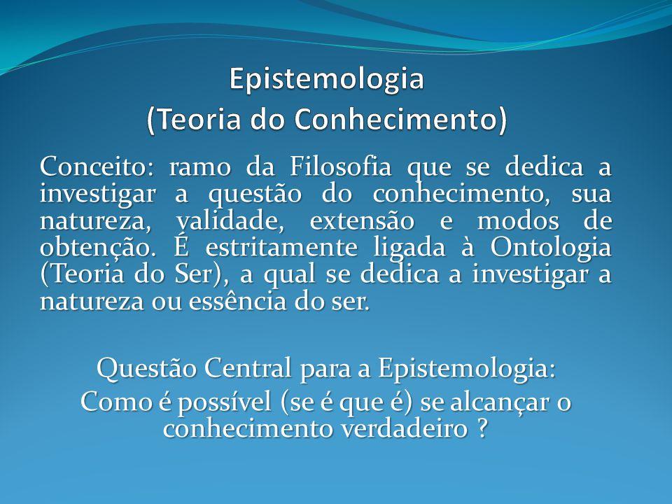 Conceito: ramo da Filosofia que se dedica a investigar a questão do conhecimento, sua natureza, validade, extensão e modos de obtenção.