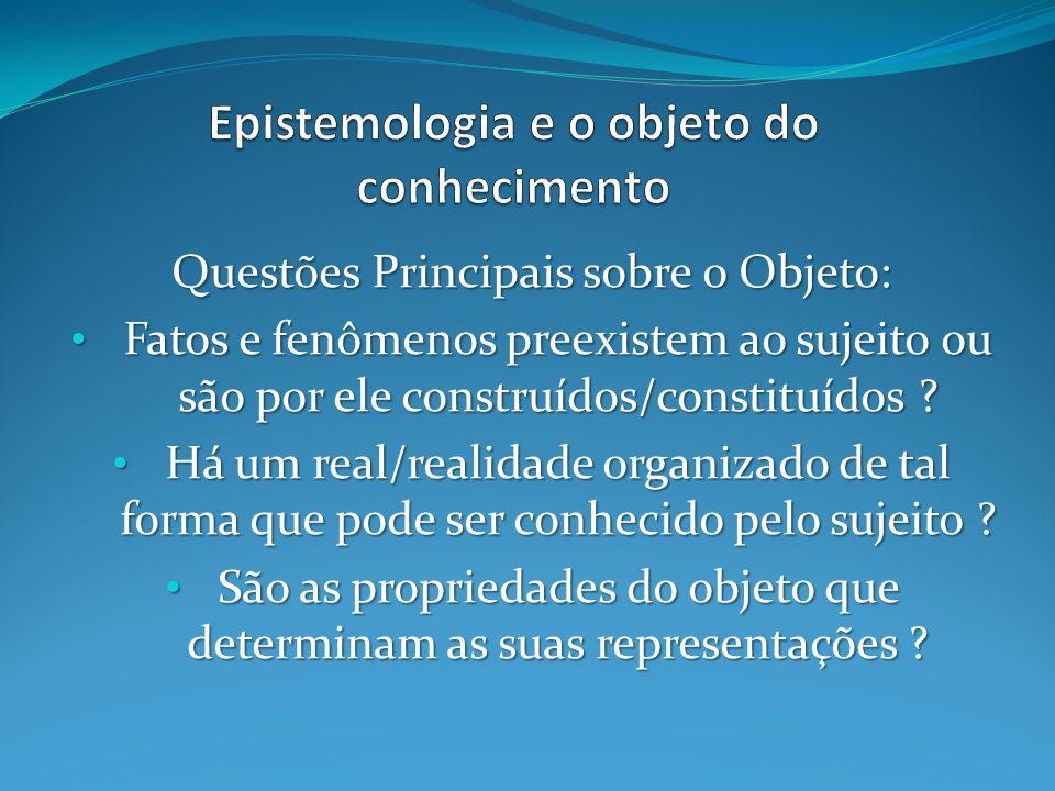 Questões Principais sobre o Objeto: Fatos e fenômenos preexistem ao sujeito ou são por ele construídos/constituídos .