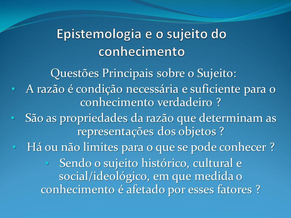 Questões Principais sobre o Sujeito: A razão é condição necessária e suficiente para o conhecimento verdadeiro .