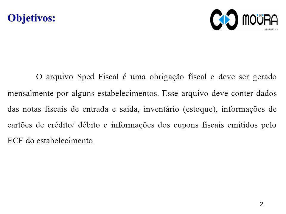 Objetivos: O arquivo Sped Fiscal é uma obrigação fiscal e deve ser gerado mensalmente por alguns estabelecimentos. Esse arquivo deve conter dados das