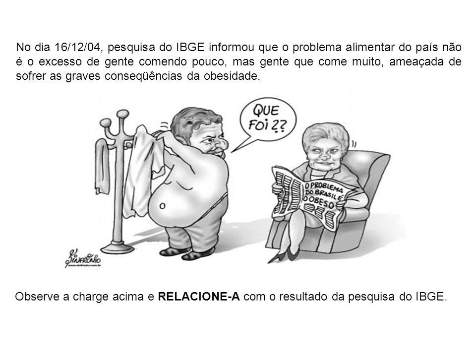 No dia 16/12/04, pesquisa do IBGE informou que o problema alimentar do país não é o excesso de gente comendo pouco, mas gente que come muito, ameaçada