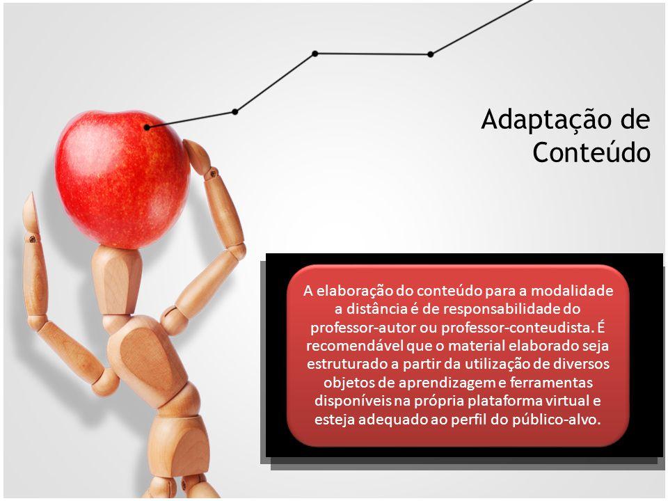 Adaptação de Conteúdo A elaboração do conteúdo para a modalidade a distância é de responsabilidade do professor-autor ou professor-conteudista. É reco