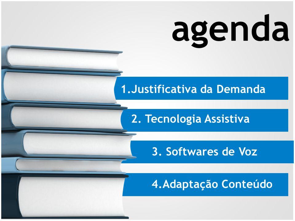 1.Justificativa da Demanda 2. Tecnologia Assistiva 3. Softwares de Voz 4.Adaptação Conteúdo agenda