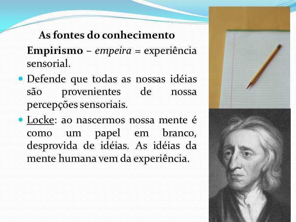 As fontes do conhecimento Empirismo – empeira = experiência sensorial.
