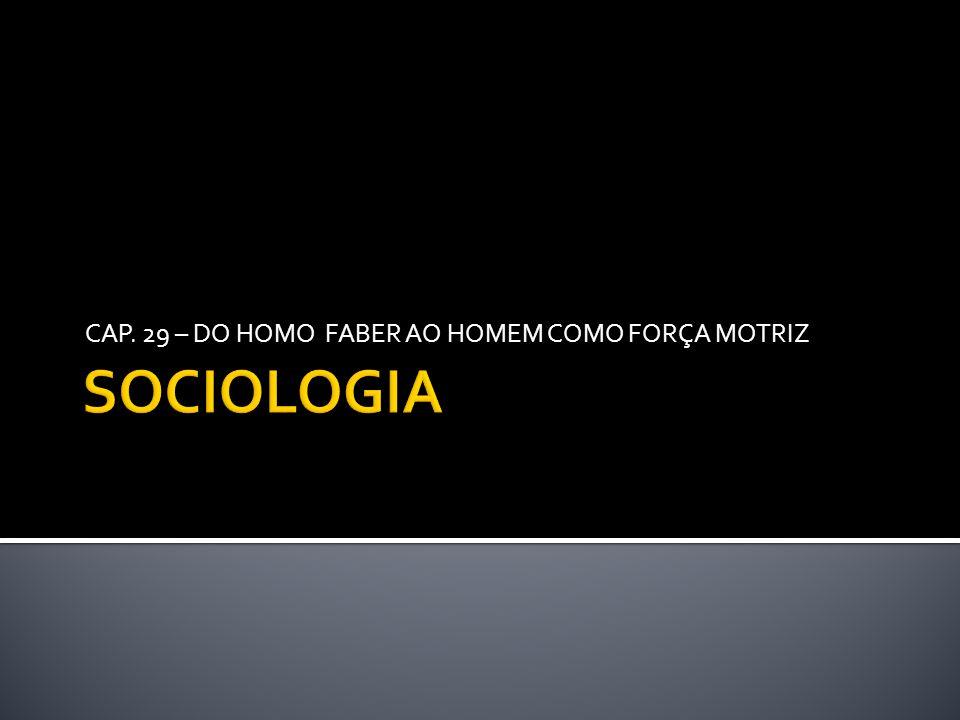 CAP. 29 – DO HOMO FABER AO HOMEM COMO FORÇA MOTRIZ