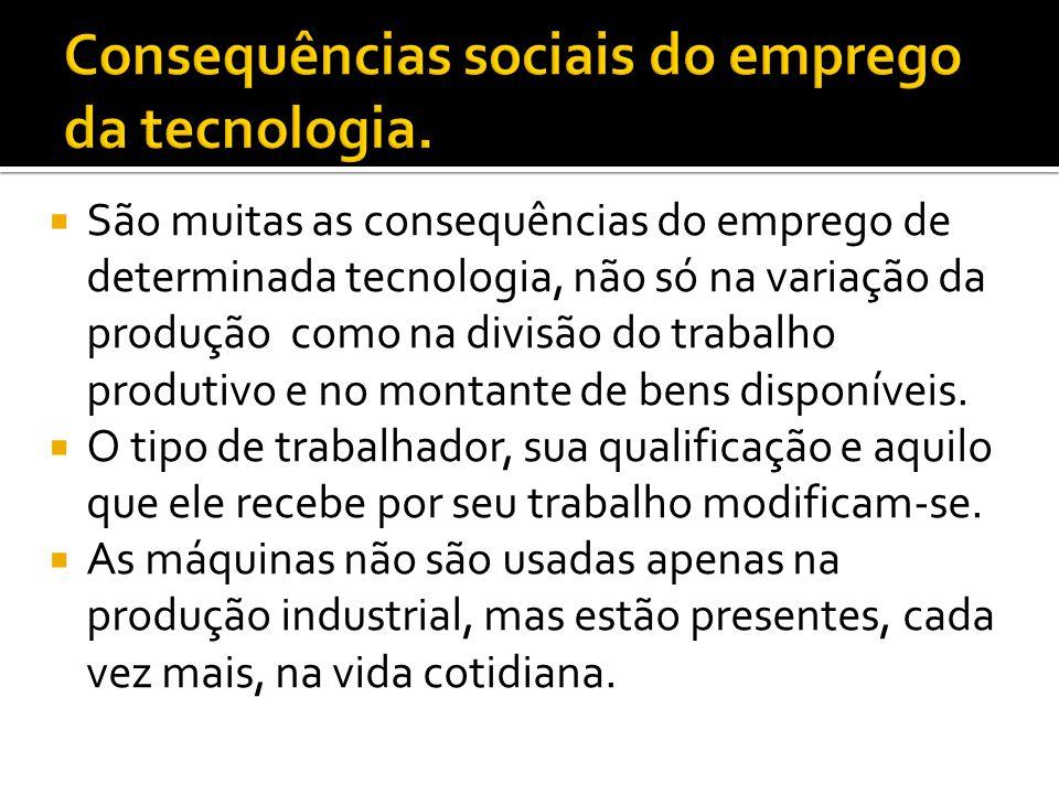  São muitas as consequências do emprego de determinada tecnologia, não só na variação da produção como na divisão do trabalho produtivo e no montante