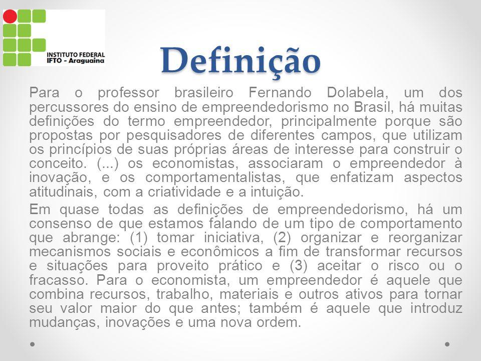 Definição Para o professor brasileiro Fernando Dolabela, um dos percussores do ensino de empreendedorismo no Brasil, há muitas definições do termo empreendedor, principalmente porque são propostas por pesquisadores de diferentes campos, que utilizam os princípios de suas próprias áreas de interesse para construir o conceito.