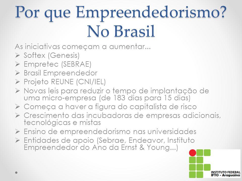 Por que Empreendedorismo.No Brasil As iniciativas começam a aumentar...