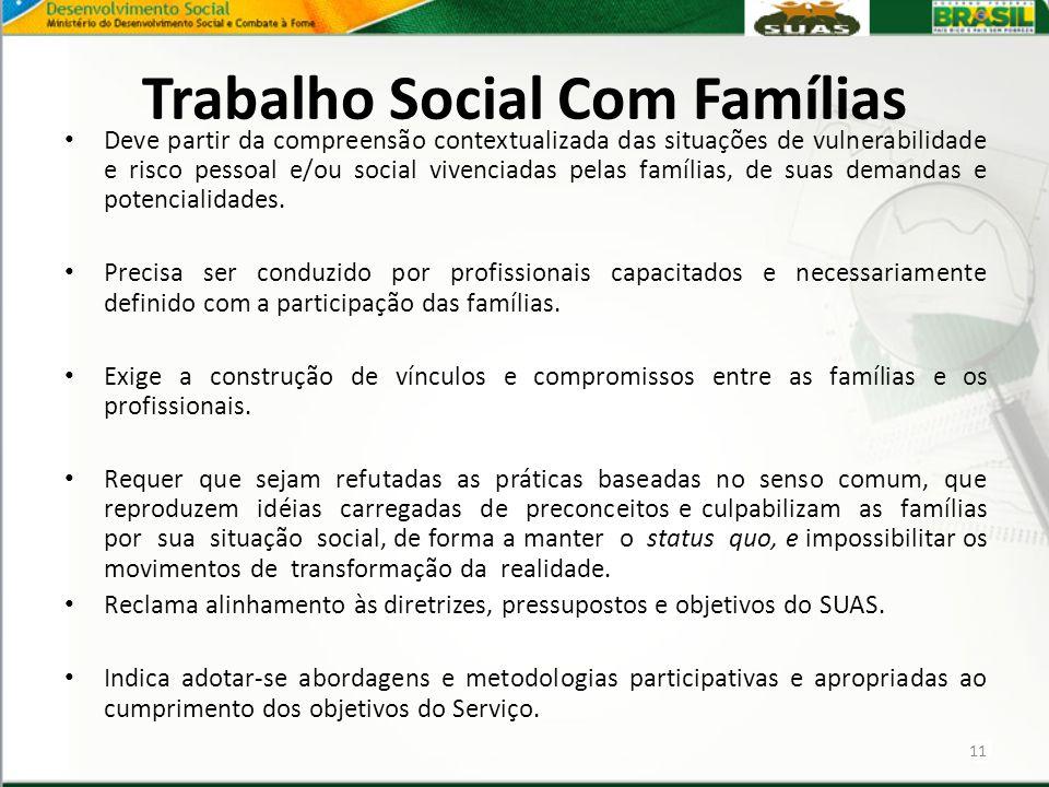 Trabalho Social Com Famílias Deve partir da compreensão contextualizada das situações de vulnerabilidade e risco pessoal e/ou social vivenciadas pelas