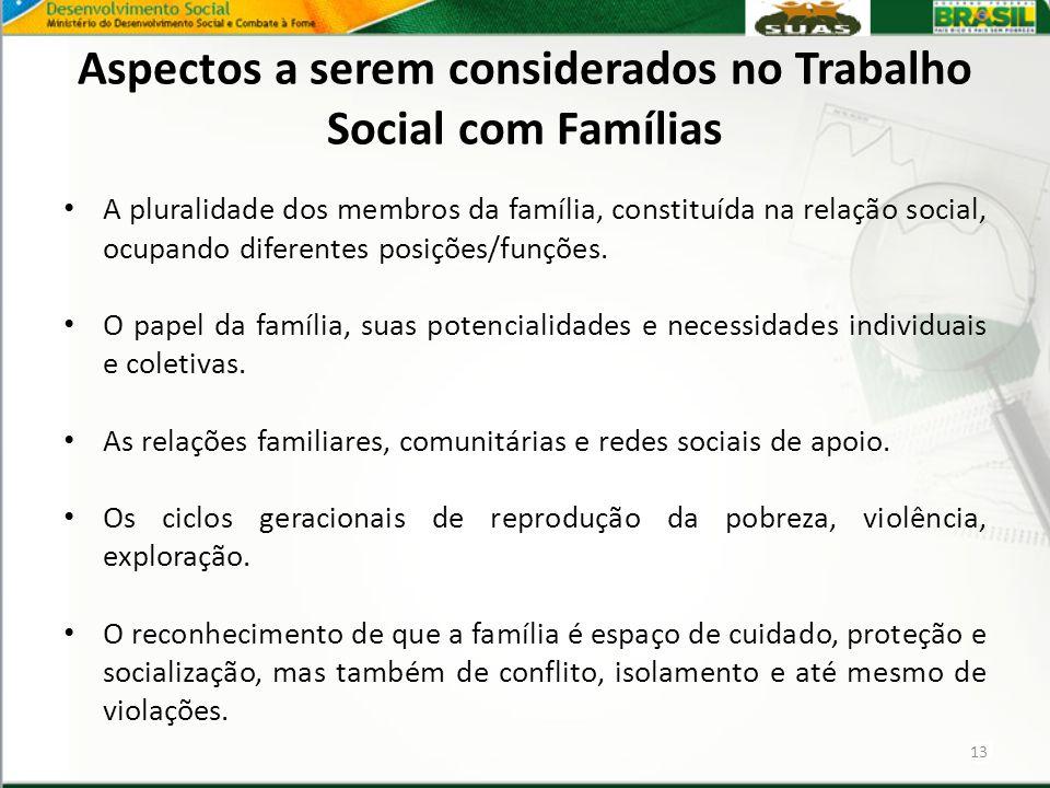 Aspectos a serem considerados no Trabalho Social com Famílias A pluralidade dos membros da família, constituída na relação social, ocupando diferentes