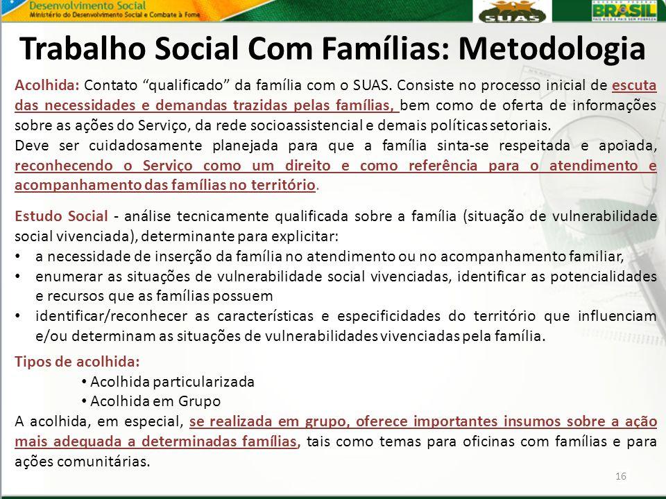 """Trabalho Social Com Famílias: Metodologia 16 Acolhida: Contato """"qualificado"""" da família com o SUAS. Consiste no processo inicial de escuta das necessi"""