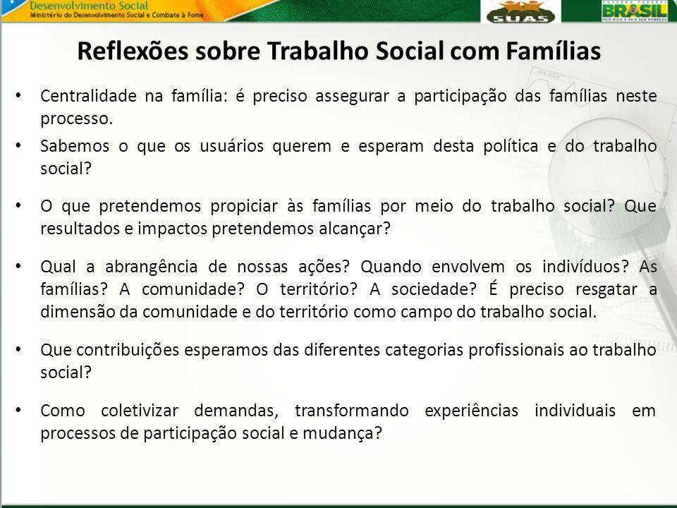 Reflexões sobre Trabalho Social com Famílias Centralidade na família: é preciso assegurar a participação das famílias neste processo. Sabemos o que os