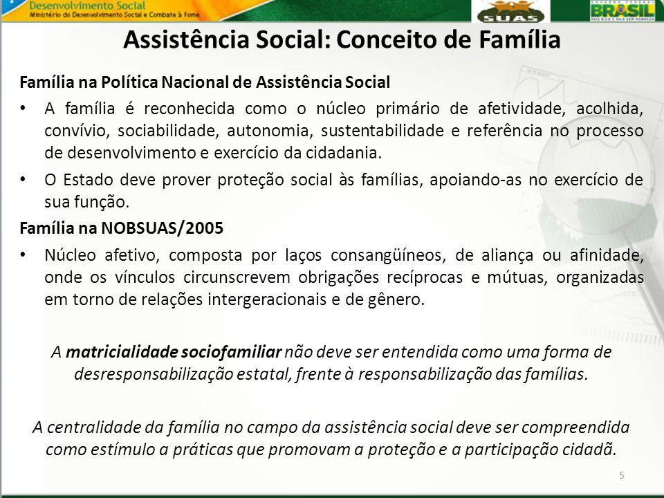 Família na Política Nacional de Assistência Social A família é reconhecida como o núcleo primário de afetividade, acolhida, convívio, sociabilidade, a