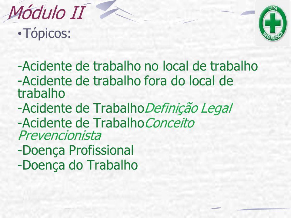 Módulo II Tópicos: -Acidente de trabalho no local de trabalho -Acidente de trabalho fora do local de trabalho -Acidente de TrabalhoDefinição Legal -Ac