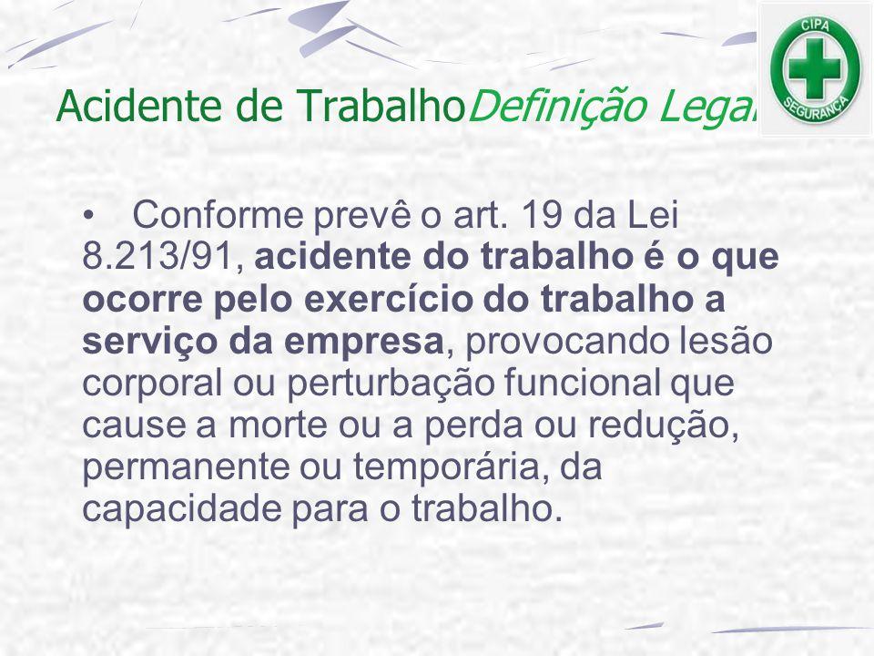 Acidente de TrabalhoDefinição Legal Conforme prevê o art. 19 da Lei 8.213/91, acidente do trabalho é o que ocorre pelo exercício do trabalho a serviço